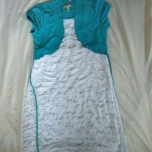 Girl's Plus size Sequence Blue and White Dress